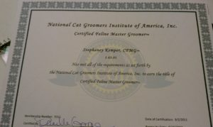Stephaney Kemper became the first and only Certified Feline Master Groomer in Missouri in 2011